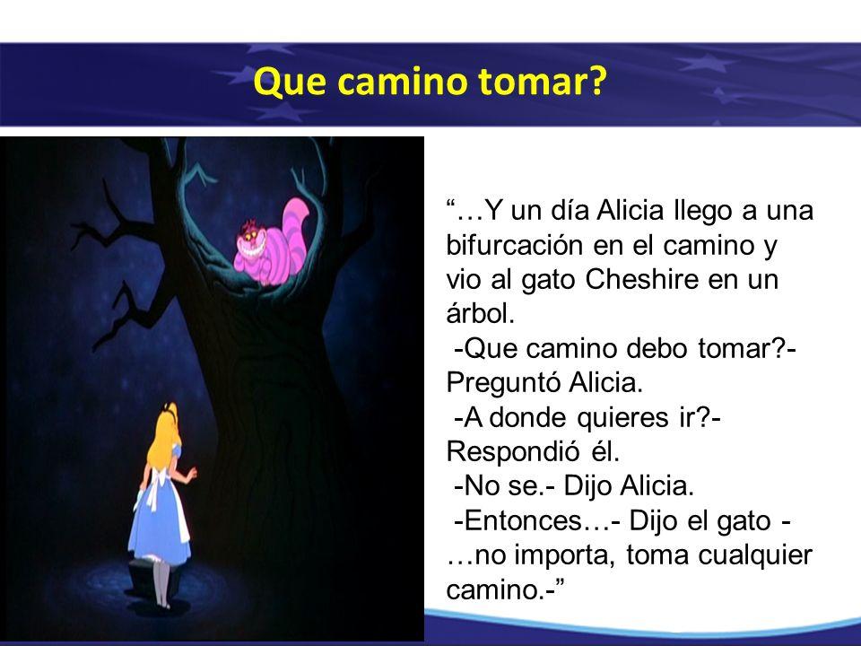 Que camino tomar …Y un día Alicia llego a una bifurcación en el camino y vio al gato Cheshire en un árbol.
