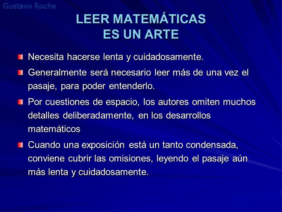 LEER MATEMÁTICAS ES UN ARTE