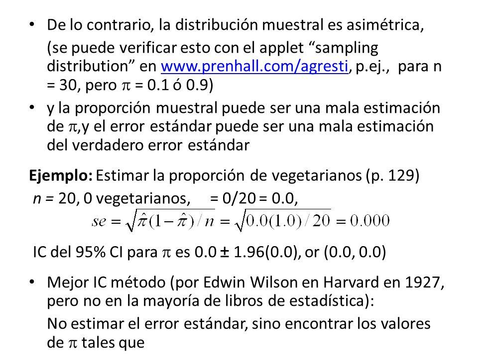 De lo contrario, la distribución muestral es asimétrica,