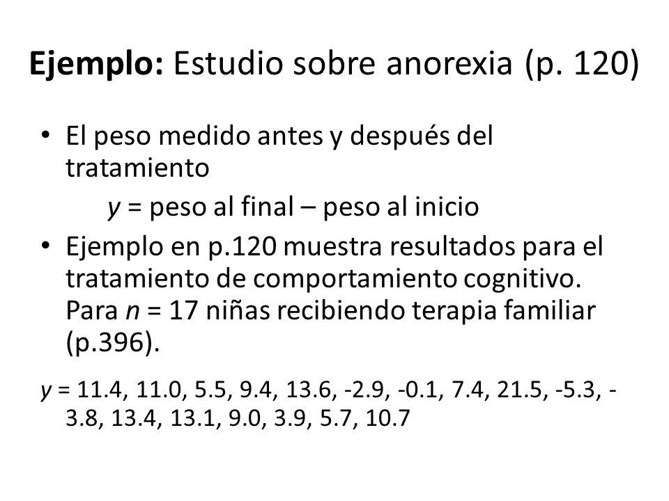 Ejemplo: Estudio sobre anorexia (p. 120)