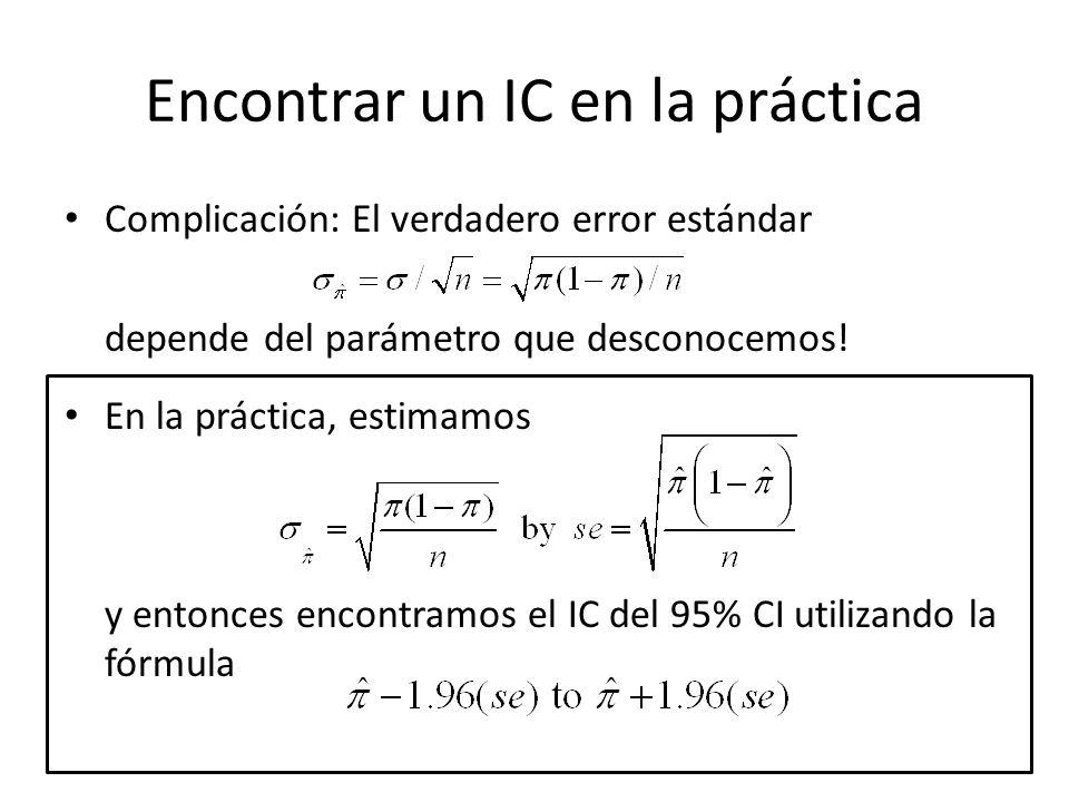Encontrar un IC en la práctica