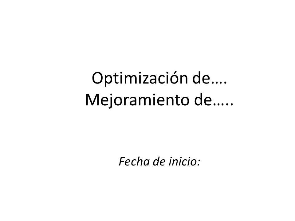 Optimización de…. Mejoramiento de….. Fecha de inicio: