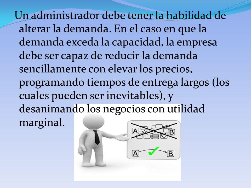 Un administrador debe tener la habilidad de alterar la demanda