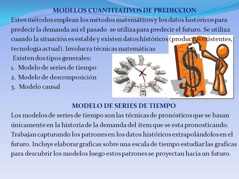 MODELOS CUANTITATIVOS DE PREDICCION Estos métodos emplean los métodos matemáticos y los datos históricos para predecir la demanda así el pasado se utiliza para predecir el futuro.