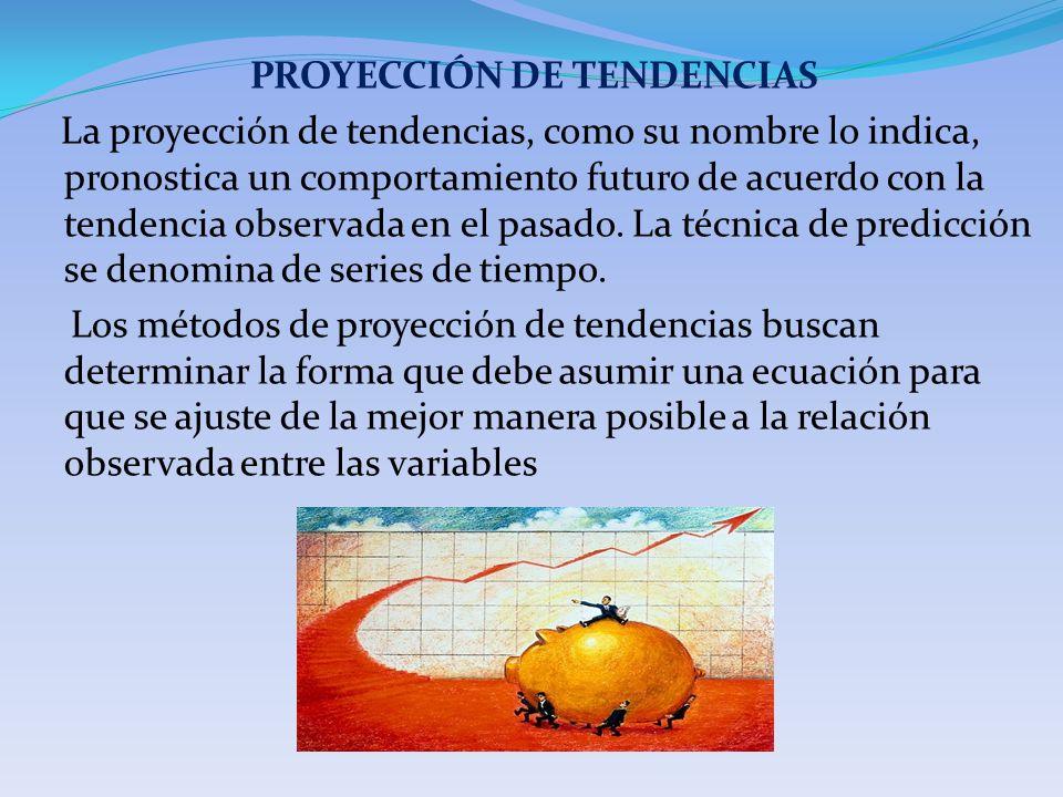 PROYECCIÓN DE TENDENCIAS La proyección de tendencias, como su nombre lo indica, pronostica un comportamiento futuro de acuerdo con la tendencia observada en el pasado.