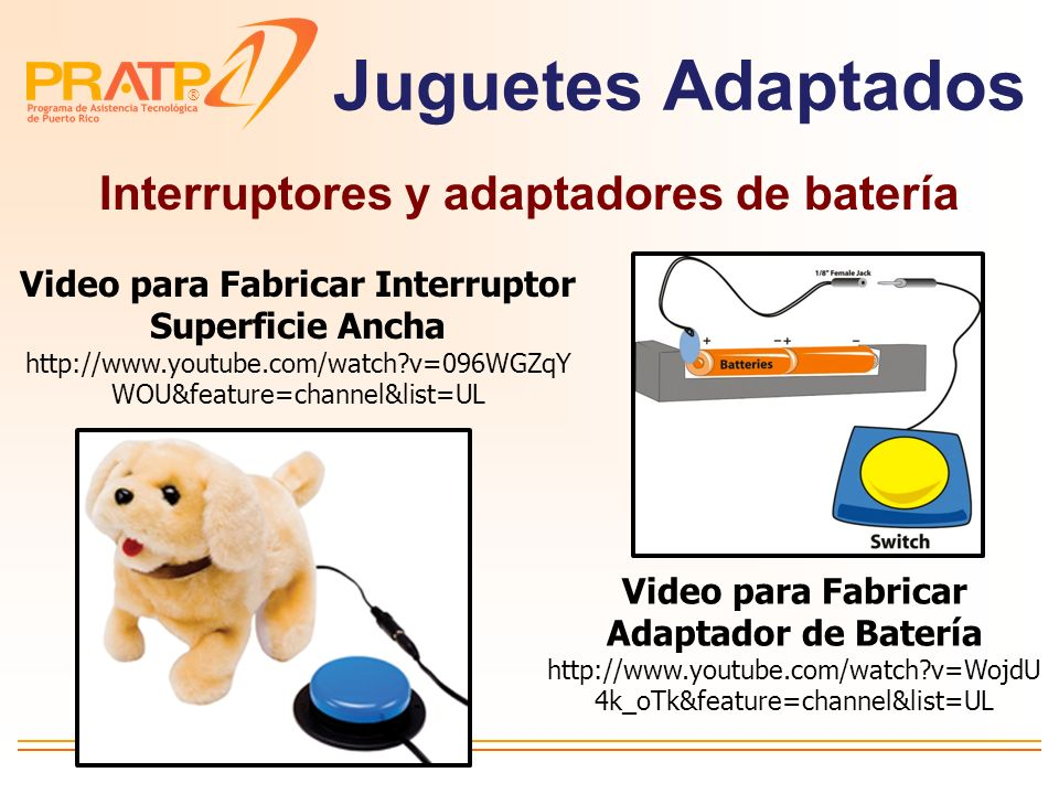 Juguetes Adaptados Interruptores y adaptadores de batería