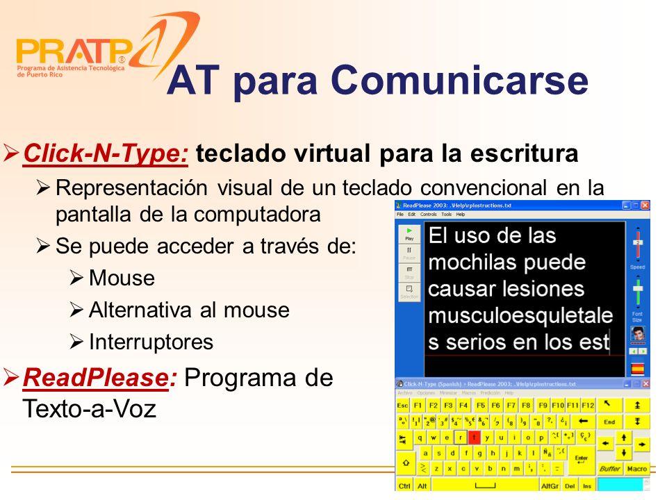 AT para Comunicarse Click-N-Type: teclado virtual para la escritura