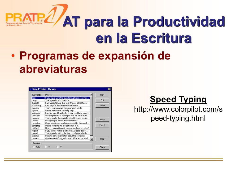 AT para la Productividad en la Escritura