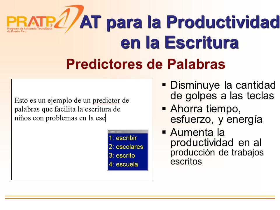 AT para la Productividad en la Escritura Predictores de Palabras