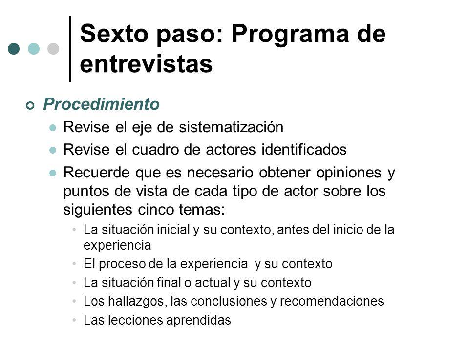 Sexto paso: Programa de entrevistas