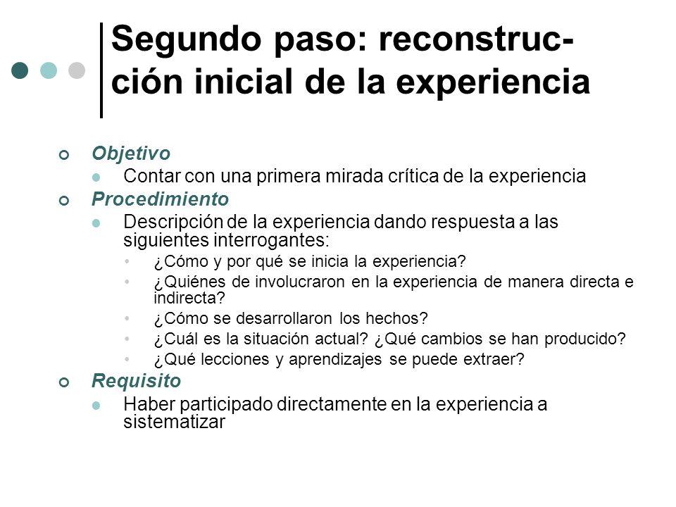 Segundo paso: reconstruc-ción inicial de la experiencia