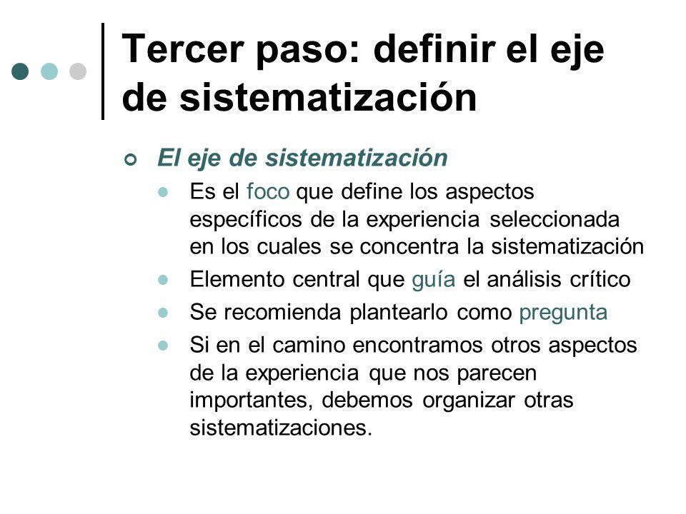 Tercer paso: definir el eje de sistematización