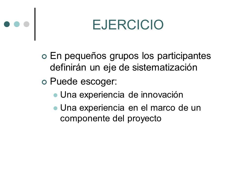 EJERCICIO En pequeños grupos los participantes definirán un eje de sistematización. Puede escoger: