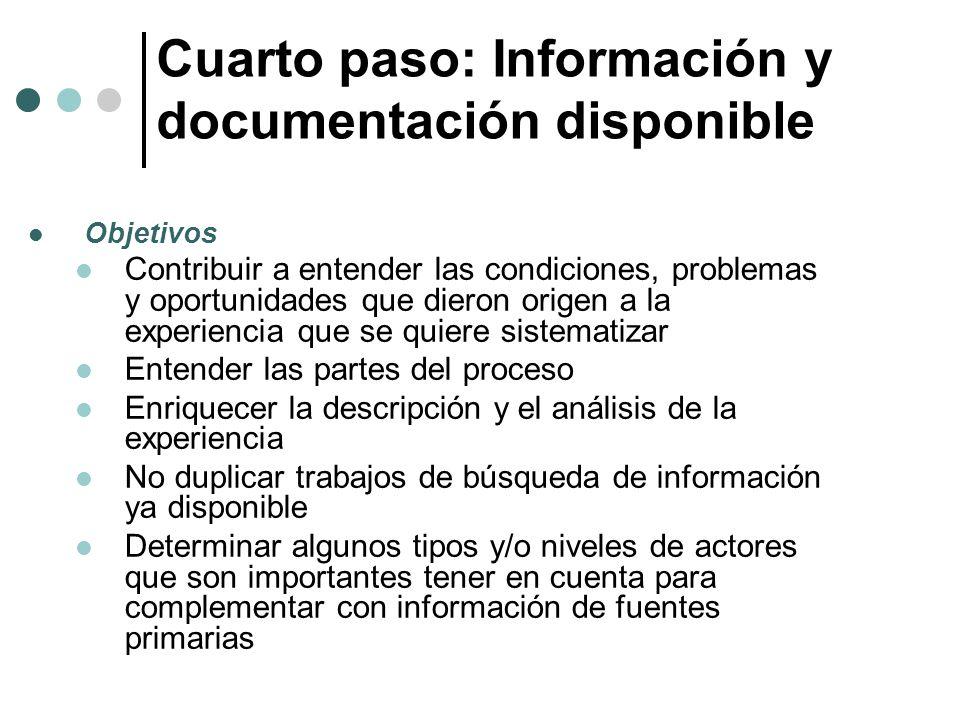 Cuarto paso: Información y documentación disponible