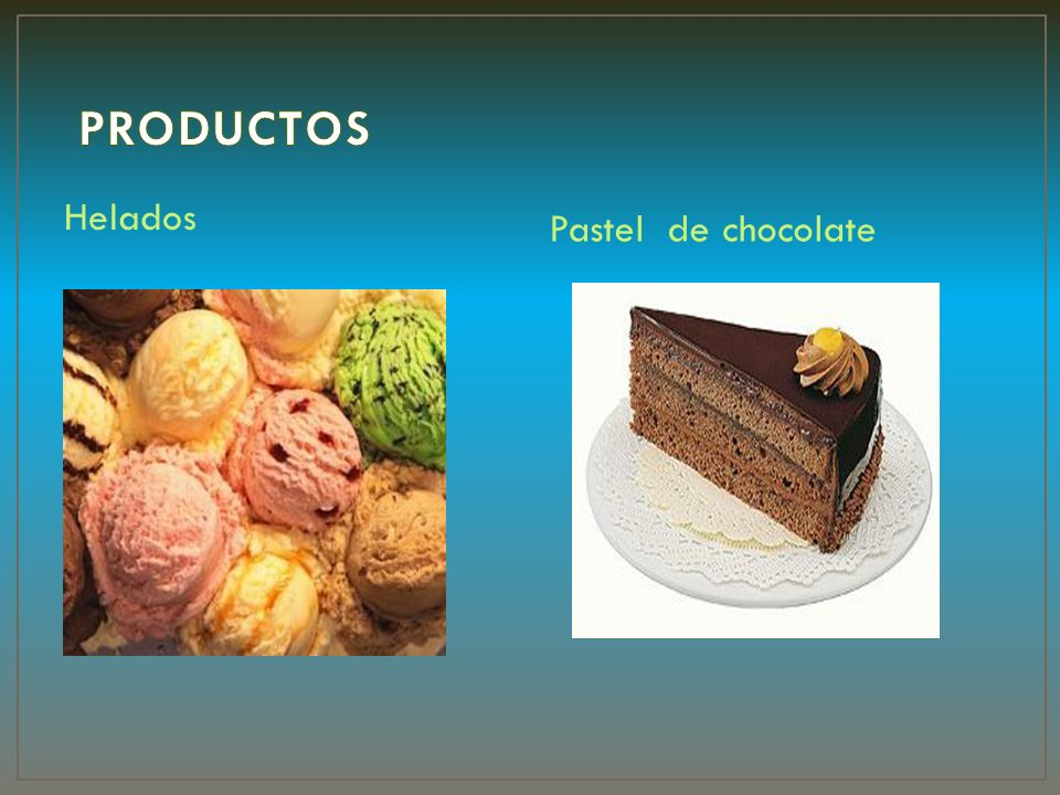 PRODUCTOS Helados Pastel de chocolate