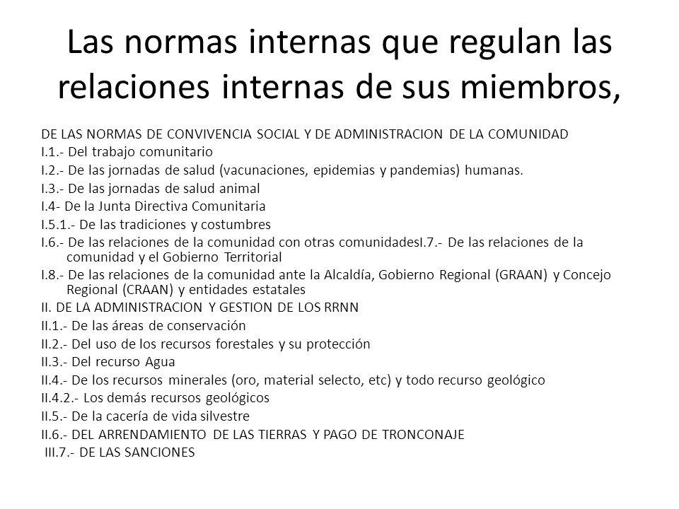 Las normas internas que regulan las relaciones internas de sus miembros,