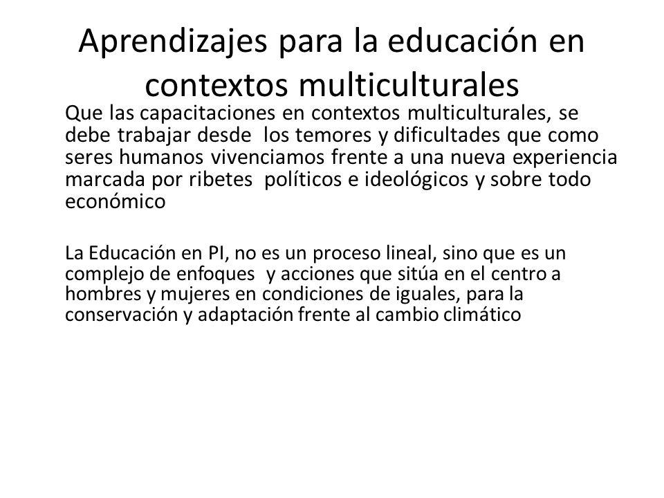 Aprendizajes para la educación en contextos multiculturales