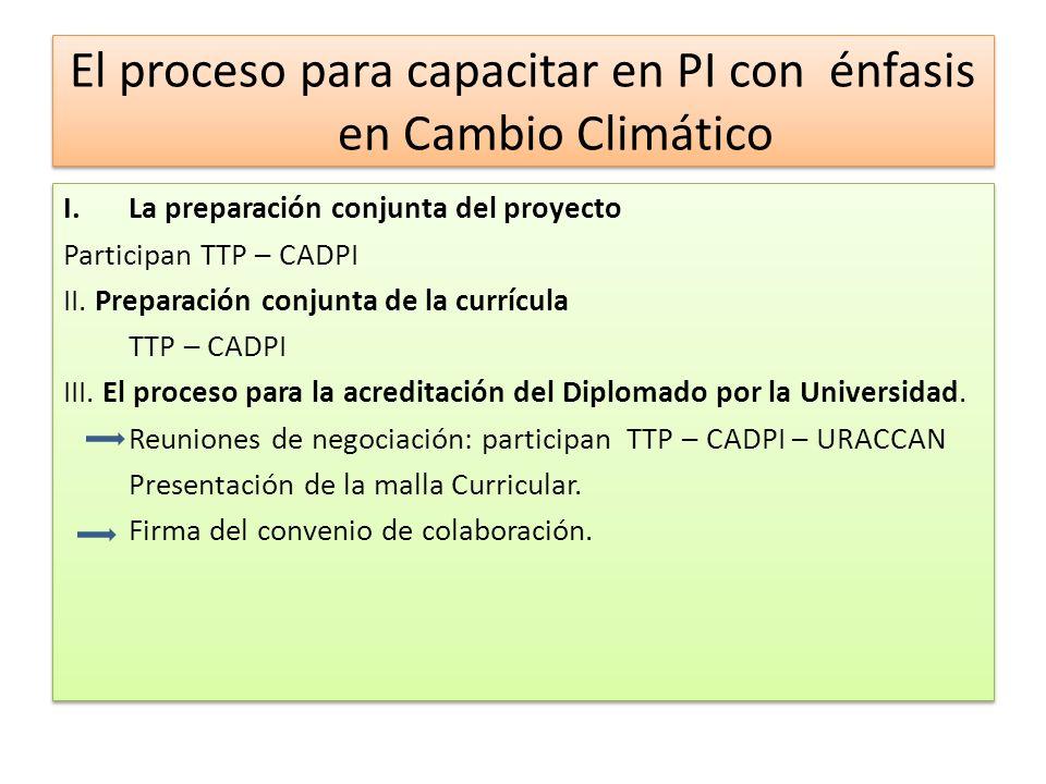 El proceso para capacitar en PI con énfasis en Cambio Climático