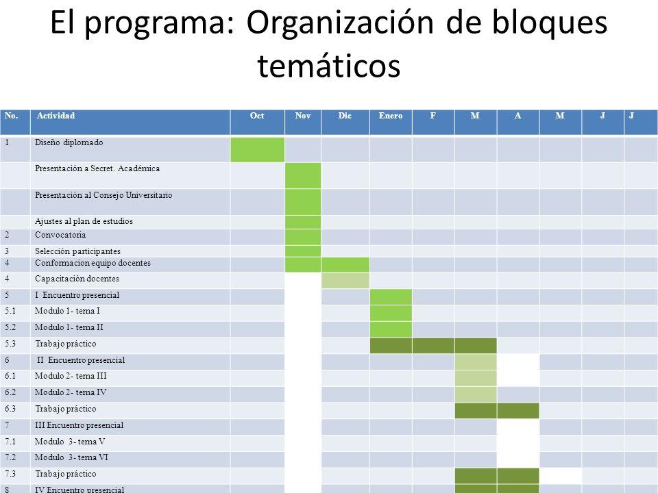 El programa: Organización de bloques temáticos
