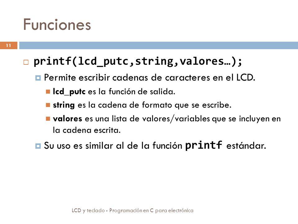 Funciones printf(lcd_putc,string,valores…);