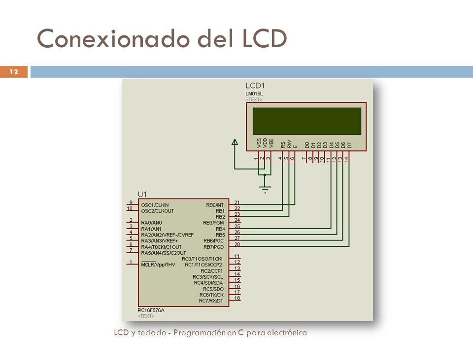 Conexionado del LCD LCD y teclado - Programación en C para electrónica