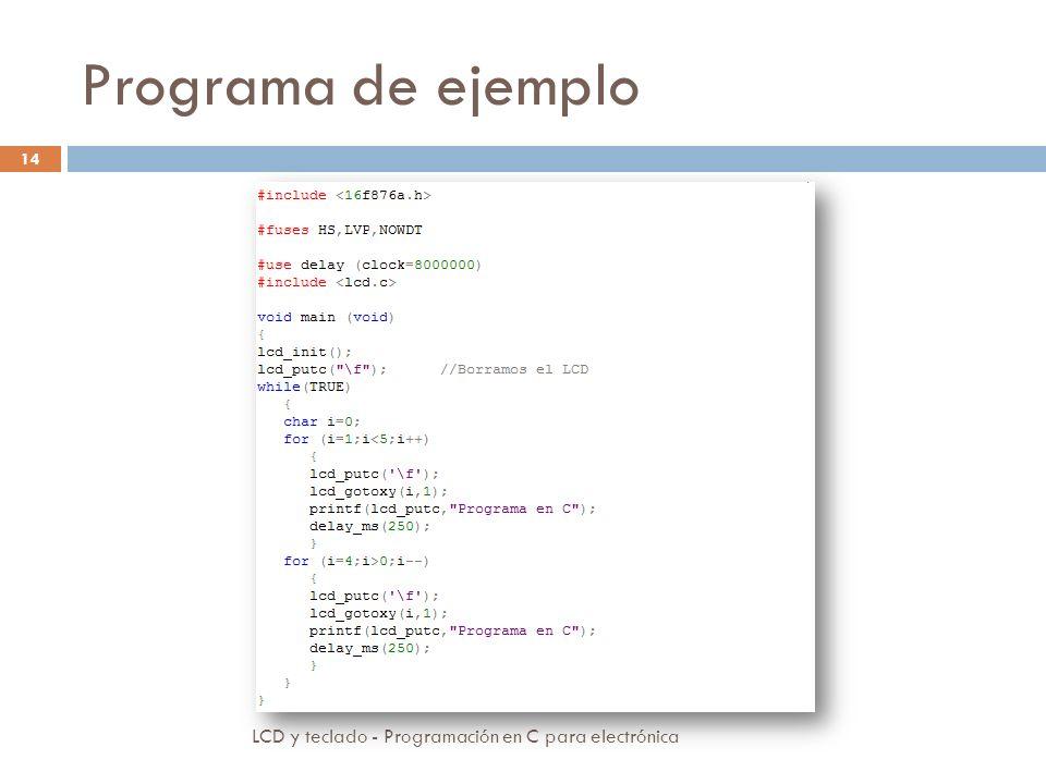 Programa de ejemplo LCD y teclado - Programación en C para electrónica