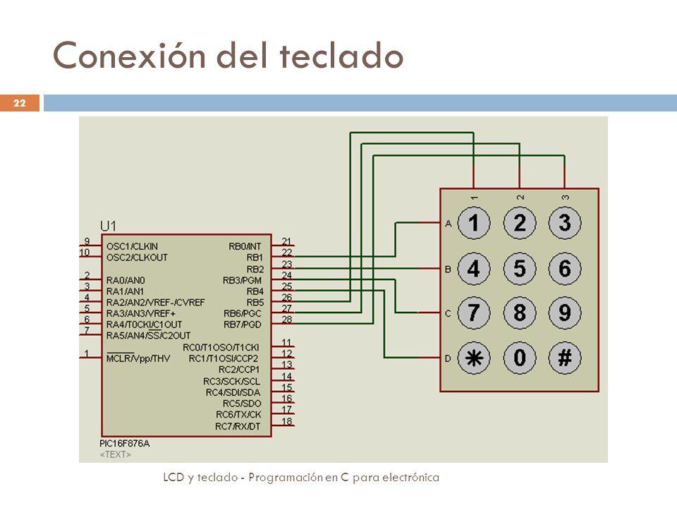 Conexión del teclado LCD y teclado - Programación en C para electrónica