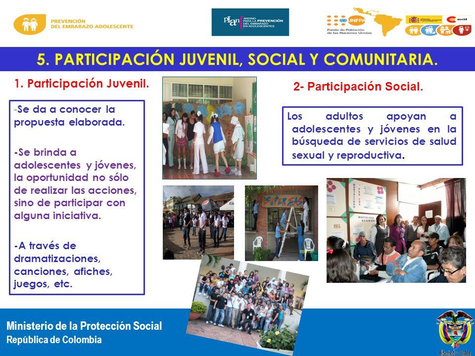 5. PARTICIPACIÓN JUVENIL, SOCIAL Y COMUNITARIA.