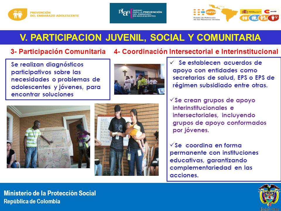 V. PARTICIPACION JUVENIL, SOCIAL Y COMUNITARIA