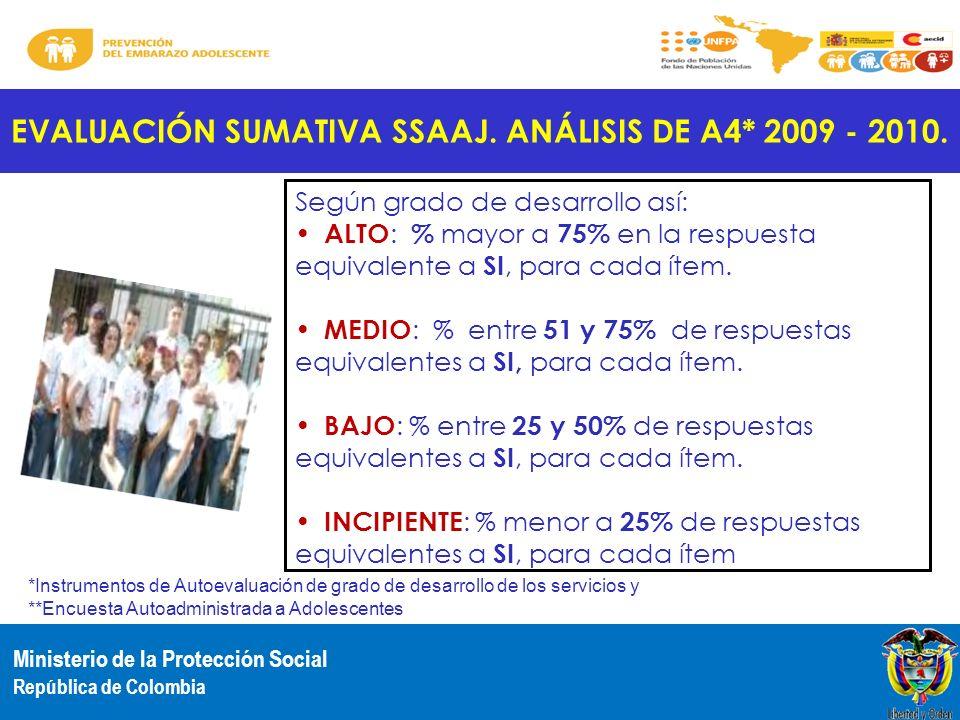 EVALUACIÓN SUMATIVA SSAAJ. ANÁLISIS DE A4* 2009 - 2010.