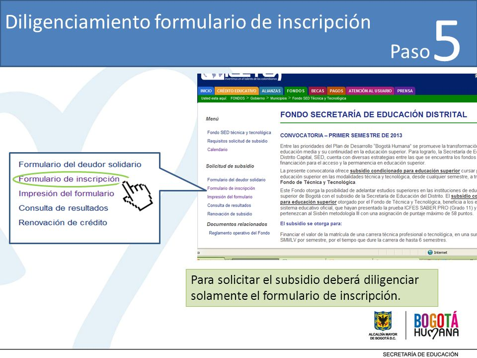 5 Diligenciamiento formulario de inscripción Paso