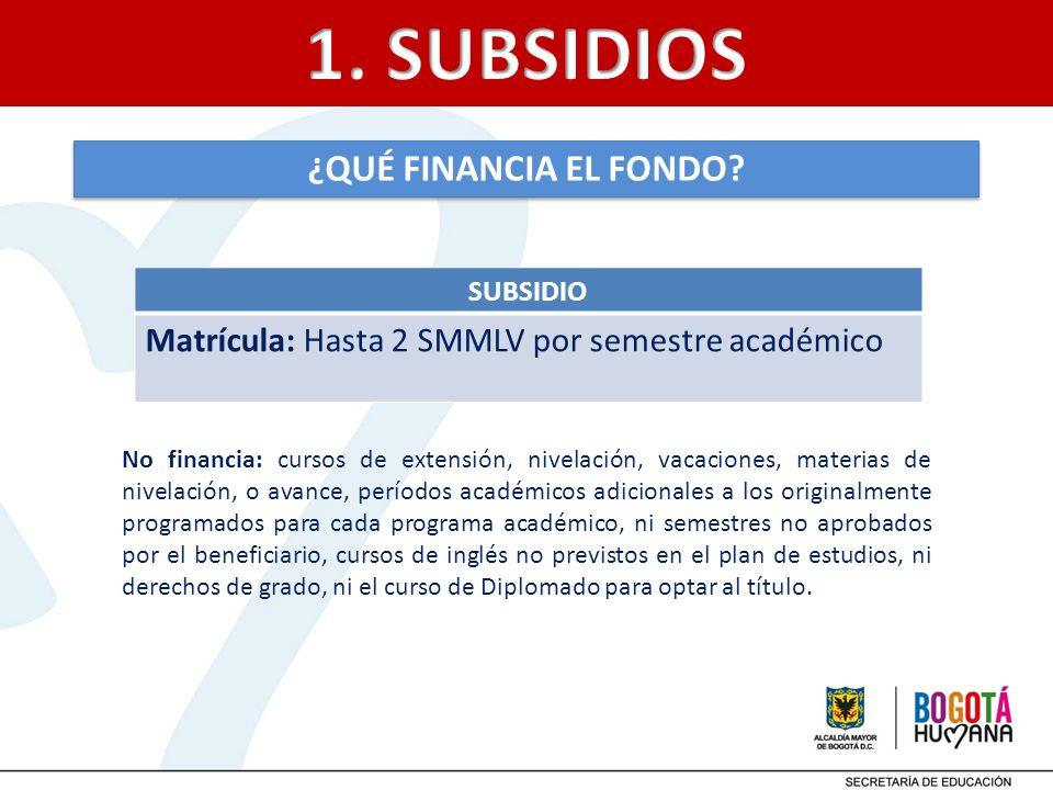 1. SUBSIDIOS ¿QUÉ FINANCIA EL FONDO