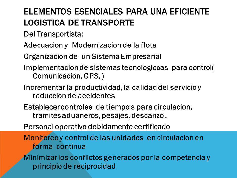 Elementos esenciales para una eficiente logistica de transporte