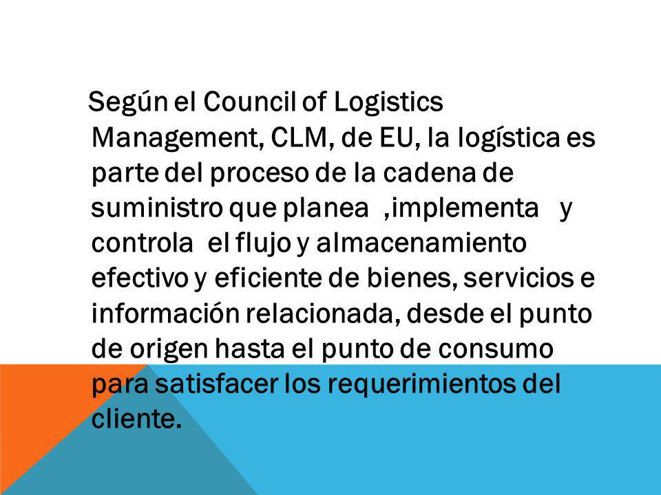 Según el Council of Logistics Management, CLM, de EU, la logística es parte del proceso de la cadena de suministro que planea ,implementa y controla el flujo y almacenamiento efectivo y eficiente de bienes, servicios e información relacionada, desde el punto de origen hasta el punto de consumo para satisfacer los requerimientos del cliente.