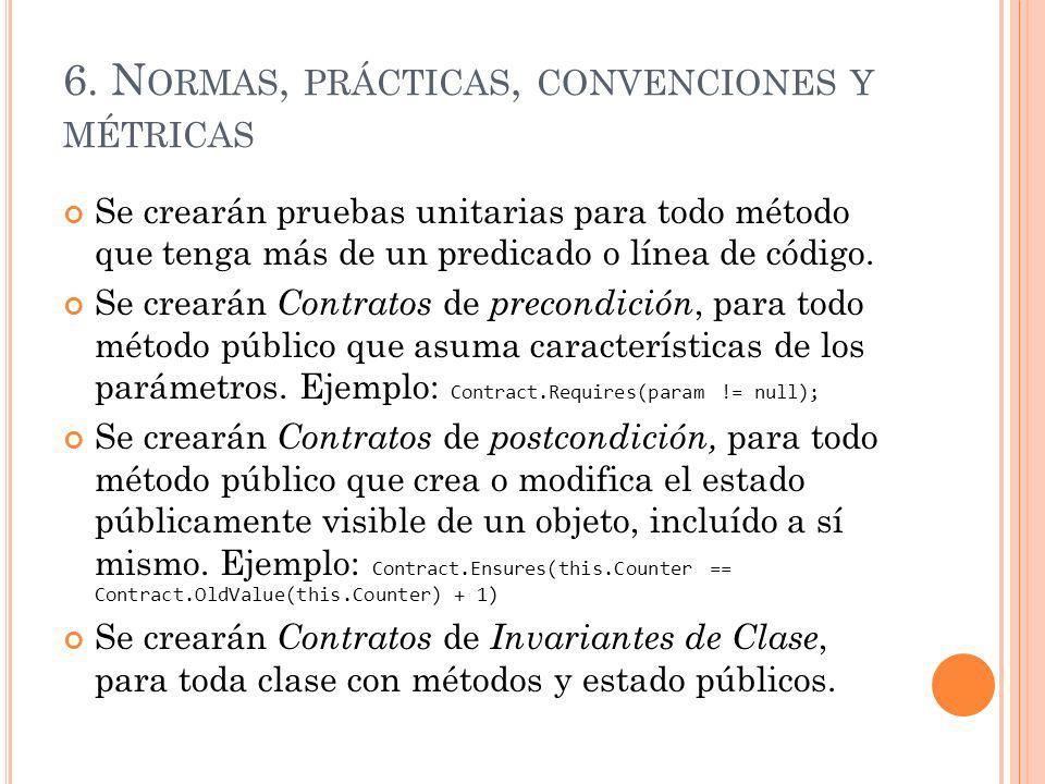 6. Normas, prácticas, convenciones y métricas