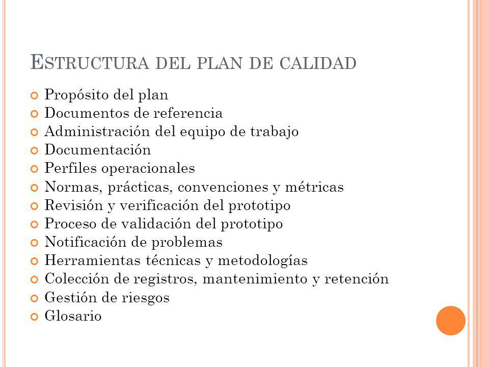 Estructura del plan de calidad