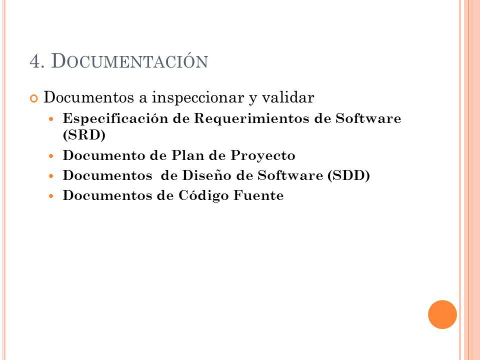 4. Documentación Documentos a inspeccionar y validar