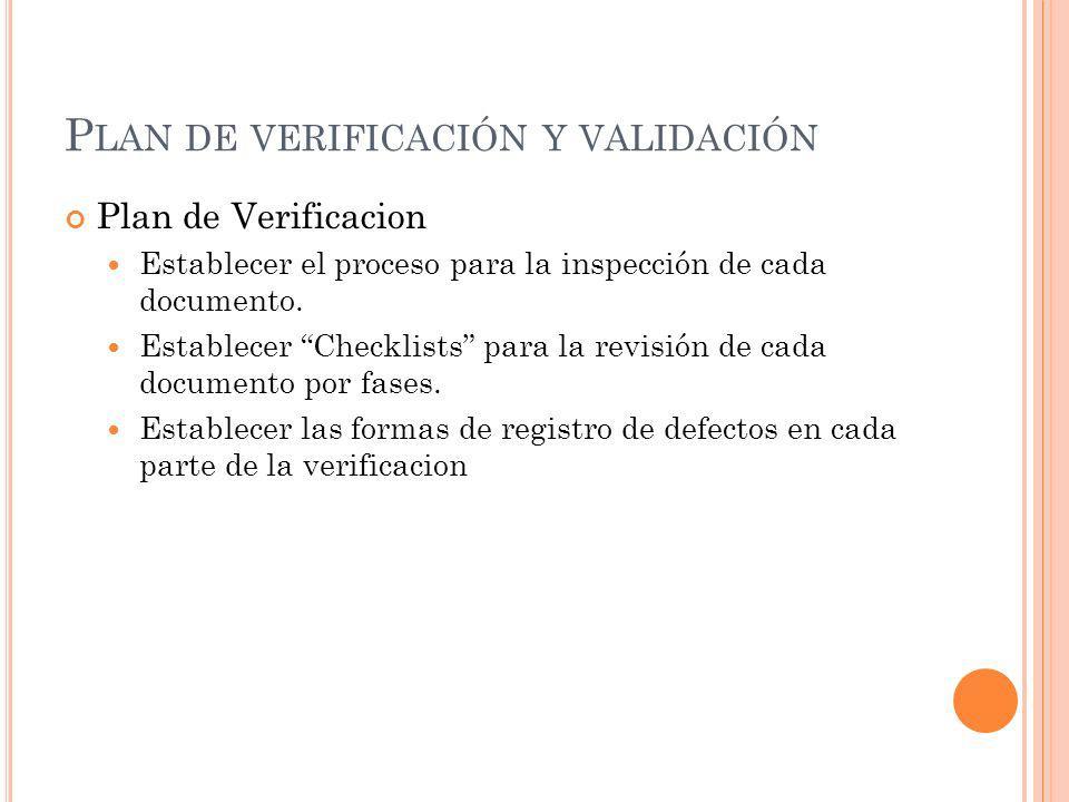 Plan de verificación y validación