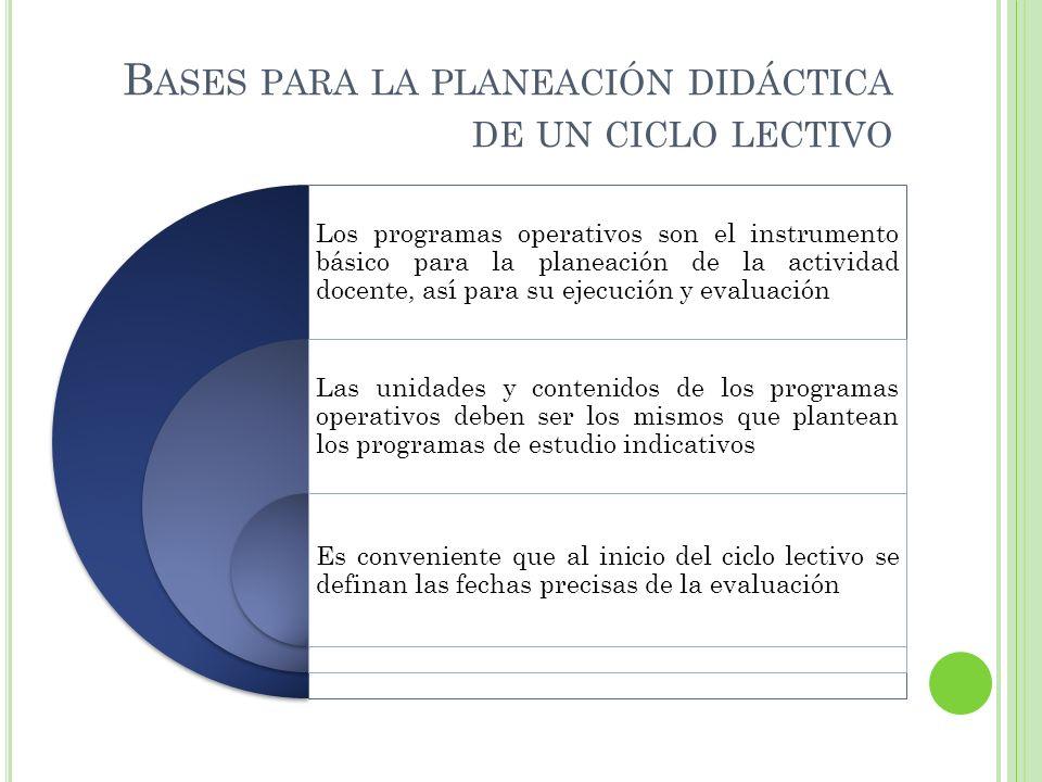 Bases para la planeación didáctica de un ciclo lectivo