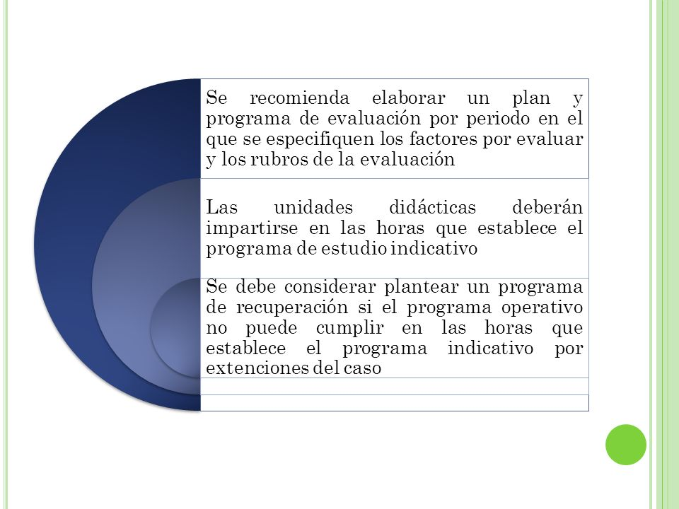 Se recomienda elaborar un plan y programa de evaluación por periodo en el que se especifiquen los factores por evaluar y los rubros de la evaluación