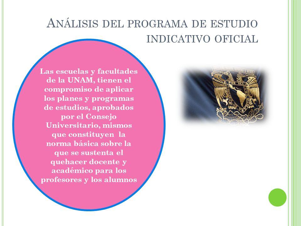 Análisis del programa de estudio indicativo oficial