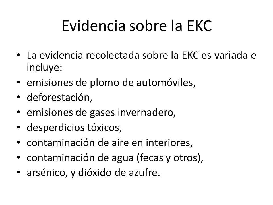 Evidencia sobre la EKC La evidencia recolectada sobre la EKC es variada e incluye: emisiones de plomo de automóviles,