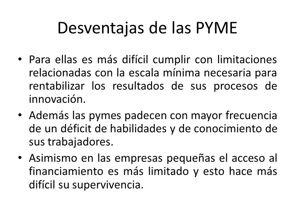 Desventajas de las PYME