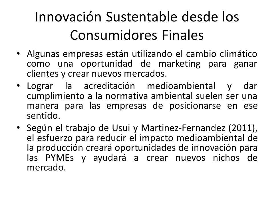 Innovación Sustentable desde los Consumidores Finales