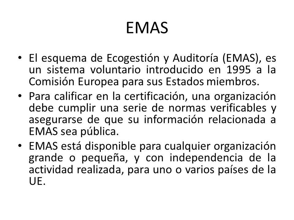 EMAS El esquema de Ecogestión y Auditoría (EMAS), es un sistema voluntario introducido en 1995 a la Comisión Europea para sus Estados miembros.