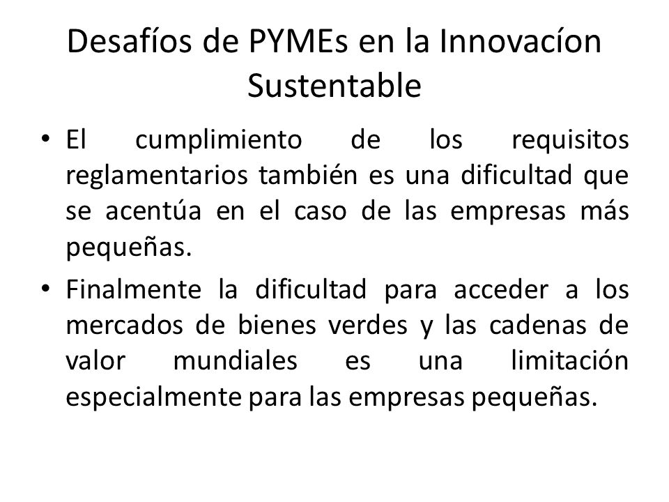 Desafíos de PYMEs en la Innovacíon Sustentable