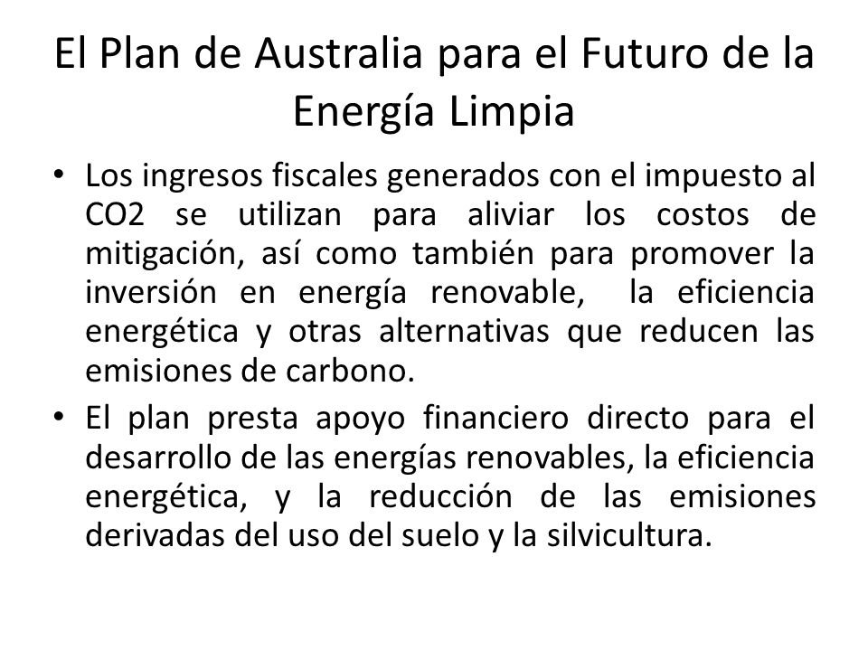 El Plan de Australia para el Futuro de la Energía Limpia