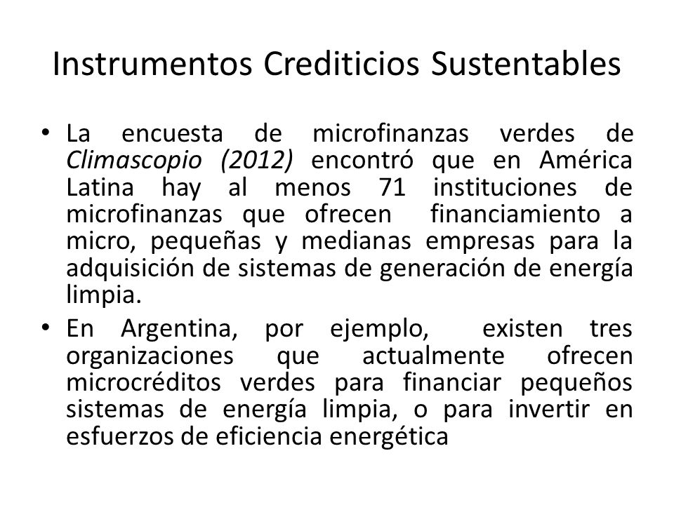Instrumentos Crediticios Sustentables