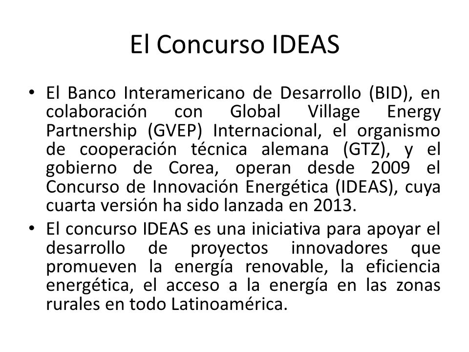 El Concurso IDEAS