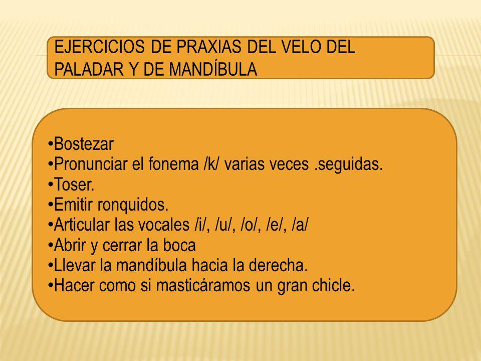 EJERCICIOS DE PRAXIAS DEL VELO DEL PALADAR Y DE MANDÍBULA